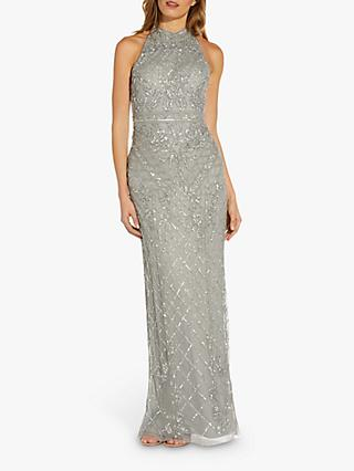 Adrianna Papell Halter Neck Beaded Maxi Gown, Blue Mist