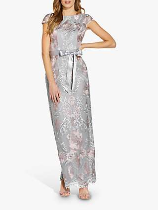 Adrianna Papell Embroidered Maxi Gown, Blush/Silver