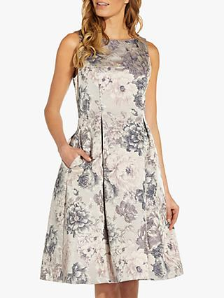 Adrianna Papell Floral Flare Knee Length Dress, Silver/Multi