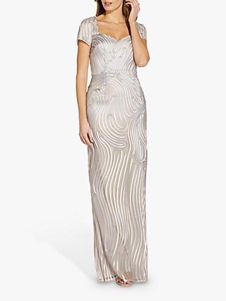 Adrianna Papell Ribbon Column Maxi Gown, Silver/Nude