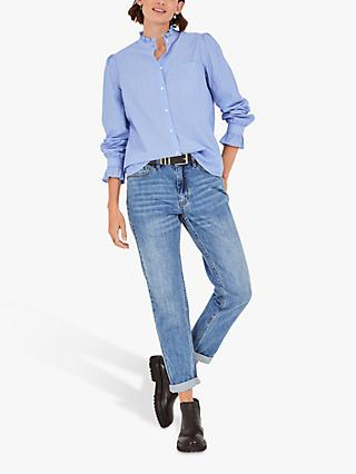 hush Florence Frill Detail Shirt, Blue/White