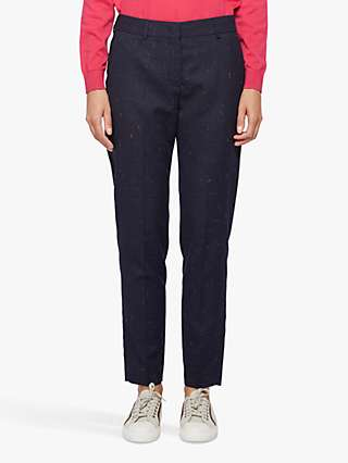 PS Paul Smith Wool Blend Flecked Slim Trousers, Navy