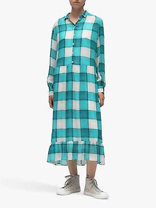 PS Paul Smith Window Pane Check Midi Shirt Dress, Acqua