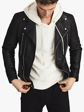 Reiss Tarrow Leather Biker Jacket, Black