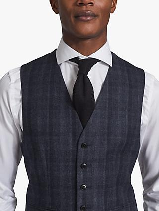 Reiss Oxsted Wool Check Slim Fit Waistcoat, Navy