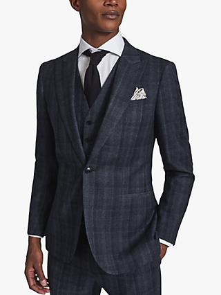 Reiss Oxsted Wool Check Slim Fit Suit Jacket, Navy