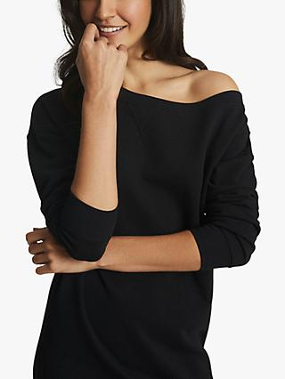 Reiss Portia Asymmetric Neck Mini Dress, Black