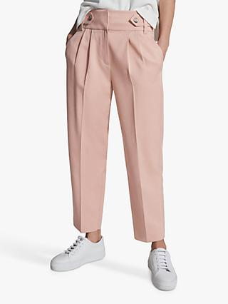 Reiss Stevie Pleat Detail Wide Leg Trousers, Pastel Pink