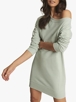 Reiss Portia Asymmetric Neck Mini Dress, Sage