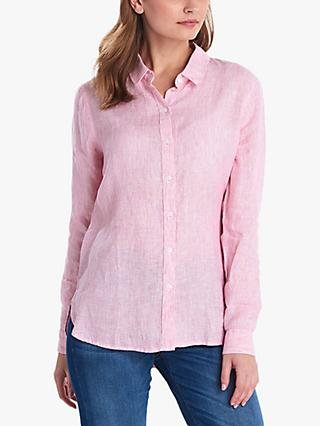 Barbour Marine Stripe Linen Shirt, Pink