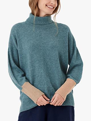 Brora Cashmere Polo Neck Jumper, Mercury/Honey