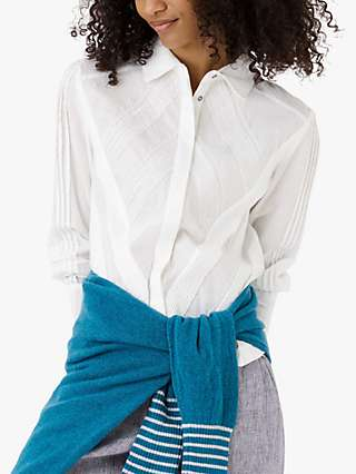 Brora Organic Cotton Pintuck Embroidered Shirt, White