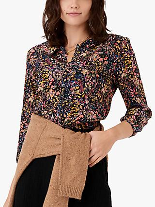 Brora Textured Cotton Pussy Bow Blouse, Black Meadow
