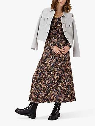 Brora Liberty Print Jersey Ruched Dress, Black Meadow