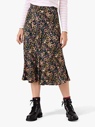 Brora Liberty Floral Print Jersey Skirt, Black Meadow