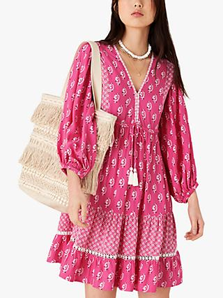 Monsoon Daisy Print Mini Dress, Pink