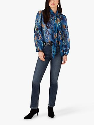 Monsoon Anita Abstract Print Blouse, Blue
