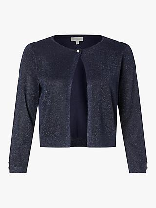 Monsoon Elyse Lurex Sparkle Knit Shrug Cardigan, Navy