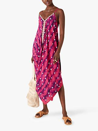 Monsoon Abstract Tie Midi Dress, Purple