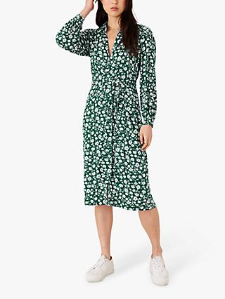 Monsoon Leigh Floral Print Shirt Dress, Green