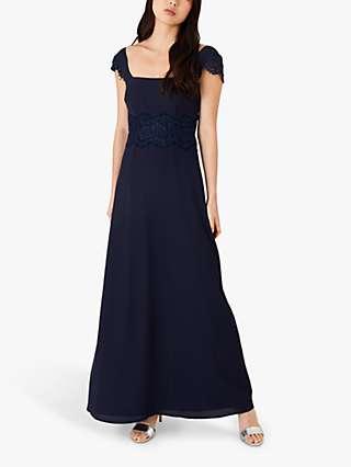 Monsoon Amanda Lace Dress, Navy