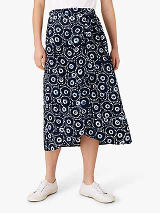 Monsoon Batik Abstract Midi Skirt, Navy