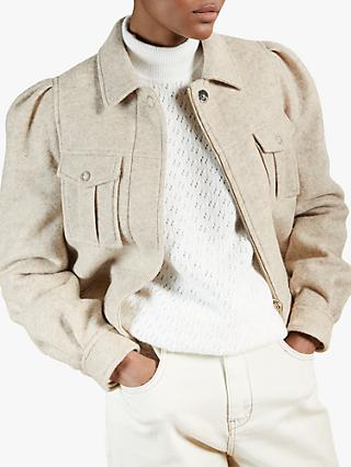Ted Baker Aeda Short Patch Pocket Boiled Wool Jacket, Cream
