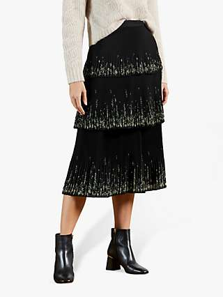 Ted Baker Papyrus Floral Midi Skirt, Black