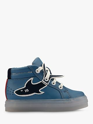 Clarks Junior Flare Scale Shark Hi-Top Trainers, Mid Blue