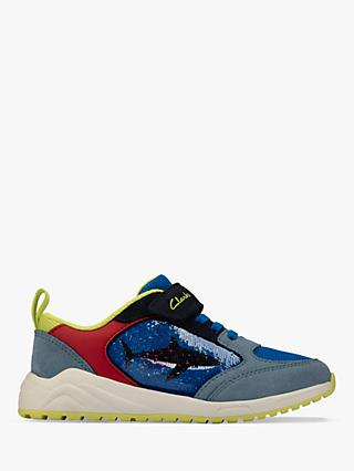 Clarks Junior Aeon Flex Sequin Shark Riptape Trainers, Bright Blue