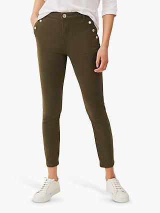 Phase Eight Paenoia Stud Pocket Detail Cropped Jeans, Khaki