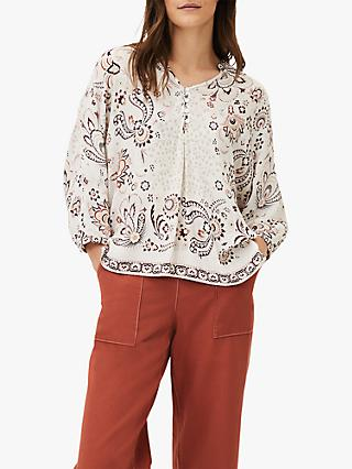 Phase Eight Noella Paisley Blouse, Ivory/Multi