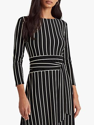 Lauren Ralph Lauren Kristie Stripe Jersey Midi Dress, Black/Colonial Cream