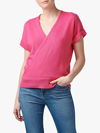360 Sweater Audrina Short Sleeve Wrap Cashmere Jumper, Pink
