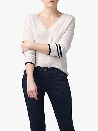 360 Sweater Janie Cashmere Tipped Jumper, Alabaster/Navy