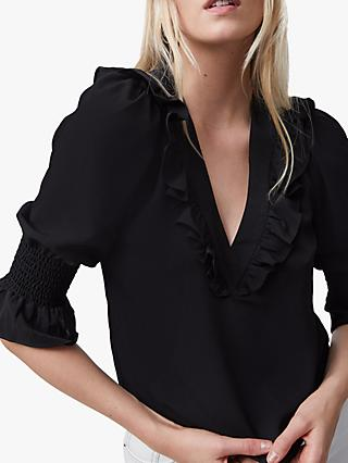 French Connection Crepe Ruffle Top, Black