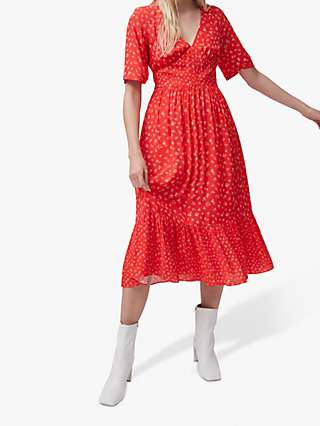 French Connection Fayola Floral Print Tea Dress, Fiery Red/Multi