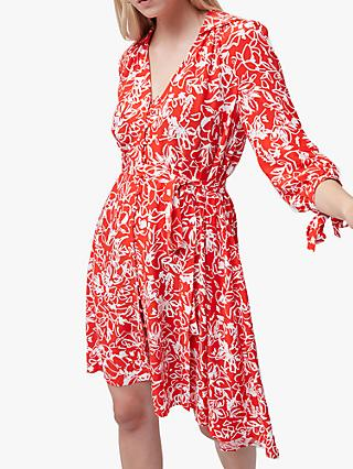 French Connection Fayola Shirt Dress, Fiery Red/Summer White