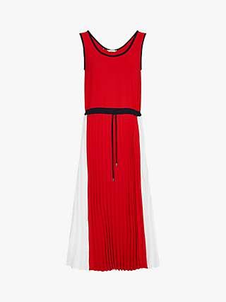 Tommy Hilfiger Pleated Midi Dress, White Colourblock