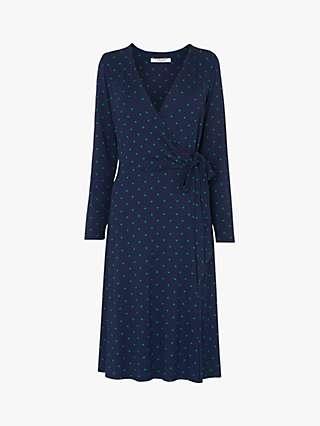 L.K.Bennett Khloe Spot Print Wrap Dress, Navy/Multi