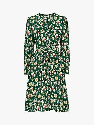 L.K.Bennett Christy Floral Print Silk Dress, Evergreen