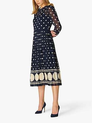 L.K Bennett Avery Spot Print Pleated Midi Dress, Blue/Cream