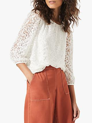 Phase Eight Winnola Floral Burnout Top, Ivory