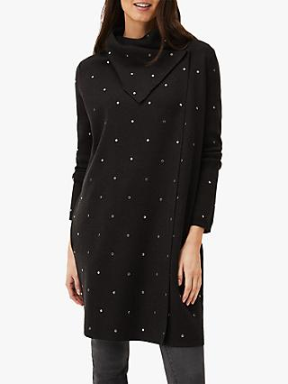 Phase Eight Paloma All-Over Stud Embellished Knit Coatigan, Charcoal