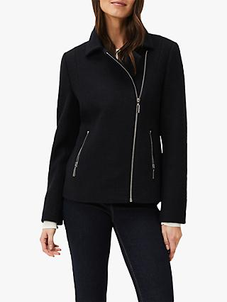 Phase Eight Alexis Wool Blend Biker Jacket, Navy