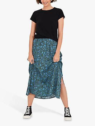 hush Santana Floral Midi Skirt, Blue/Black
