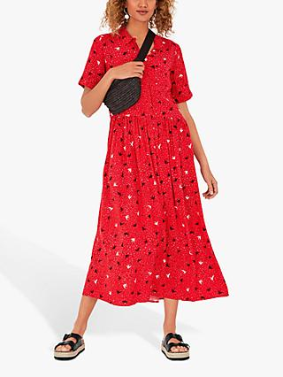 hush Lianne Midi Dress, Birds/Hearts Red