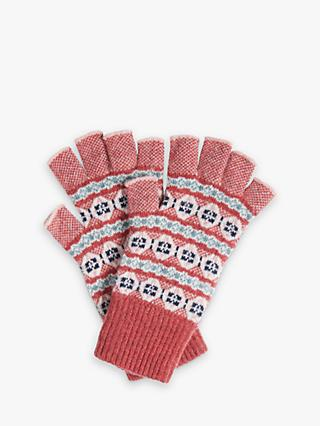 Brora Cashmere Fingerless Gloves, Pomegranate