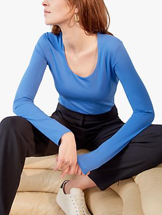Jigsaw Double Scoop Neck Long Sleeve Tee, Forever Blue
