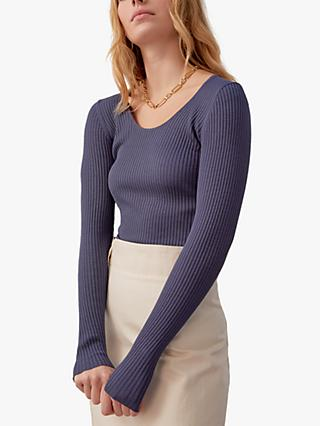 Jigsaw Silk Scoop Neck Ribbed Jumper